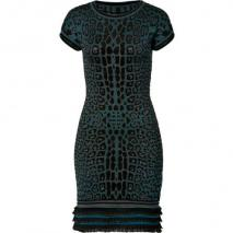 Roberto Cavalli Petrol/Black Leopard Print Knit Dress