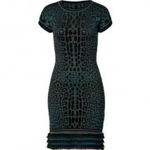 Roberto Cavalli Petrol/Black Leopard Print Knit Dress
