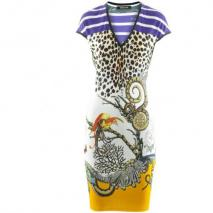 Roberto Cavalli Purple Leo Multi Print Dress