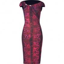 Roberto Cavalli Ruby Red Phyton Print Dress