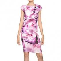 Roberto Cavalli Schmuckbesetztes Bedrucktes Techno Jersey Kleid Violett