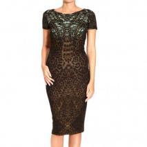 Roberto Cavalli Short sleeve curled snake jaguar print dress