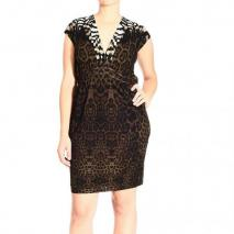 Roberto Cavalli Short sleeve jersey v neck jaguar print dress