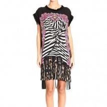 Roberto Cavalli Short sleeve silk print tunic dress