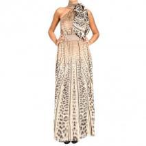 Roberto Cavalli Silk bow collar animalier print long dress