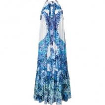 Roberto Cavalli White/Peacock Printed Maxi Dress