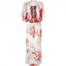 Roberto Cavalli White Printed Caftan Dress