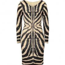 Roberto Cavalli Zebra Printed Draped Wool Blend Dress
