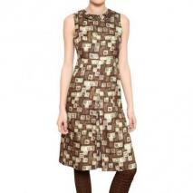 Rochas Bedrucktes Seiden Woll Organdy Veredeltes Kleid