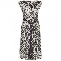 Saint Laurent Seidenkleid Mit Animalprint Grau