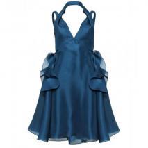 Saint Laurent Seidenorganza-Kleid Mit Volants