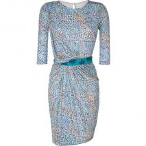 Saloni Azure Blue Mosaic Print Dress