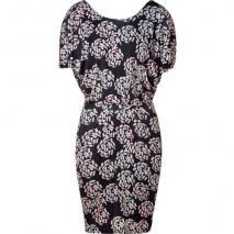 Saloni Black and Pink Geometrical Rose Print Dress