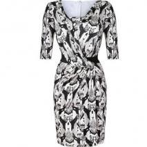 Saloni Black/White Ikat Print Silk Jersey Bea Dress