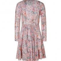 Saloni Coral and Olive Shibori Print Dress