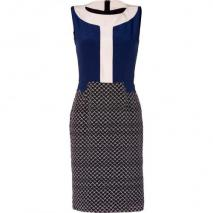 Saloni Navy/Bone Arrow Print Silk Colette Sheath Dress