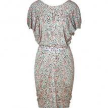 Saloni Peach and Mint Mosaic Print Dress