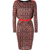 Saloni Red-Fluo Diamond Print Bead Embellished Silk Jersey Dress
