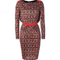 Saloni Red-Fluo Diamond Print Bead Embellished Silk Jersey Dress