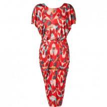 Saloni Red Ikat Print Open Back Silk Jersey Apsara Dress