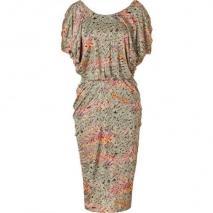 Saloni Sage Bamboo Print Silk Jersey Dress
