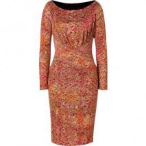 Saloni Salmon Bamboo Print Silk Jersey Dress