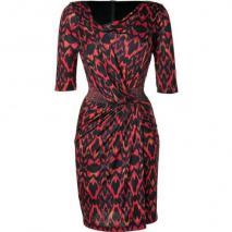 Saloni Terracota Ikat Print Silk Jersey Bea Dress