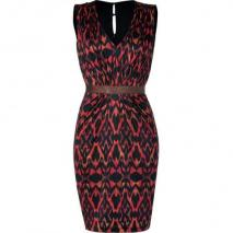 Saloni Terracota Ikat Print Silk Jersey Gloria Dress