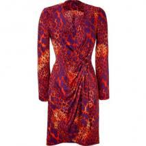 Salvatore Ferragamo Mandarin And Violet Printed Wrap Dress