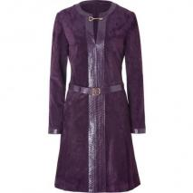 Salvatore Ferragamo Plum Python Trim Suede Dress
