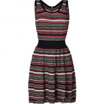Sandro Black&Beige&Neon Striped Knit Dress