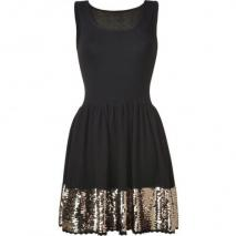 Sandro Black/Gold Sequined Dress