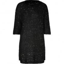 Sandro Black Sequined Knit Dress