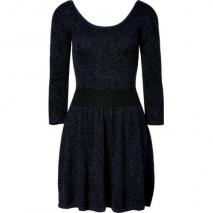 Sandro Navy/Black Leopard Print Knit Dress