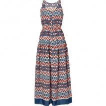 Sandro Orange and Blue Tribal Printed Dress