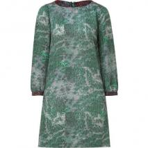 See by Chloé Green/Grey Silk-Blend Kleid