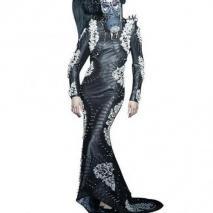 She Guang Hu Juwel Nappa Langes Kleid