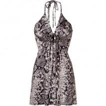 Sky Black and White Snake Halter Neck Dress
