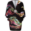 Sky Black-Multi Dolman Sleeve Martine Dress with Brooch