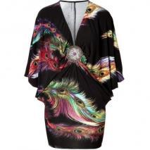 Sky Black-Multi Dolman Sleeve Martine Dress with Brooch