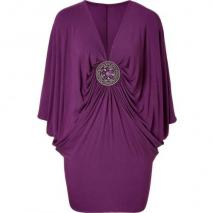 Sky Mulberry Dolman Sleeve Martine Dress with Brooch