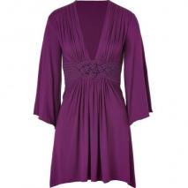 Sky Purple Jersey Dress with Woven Sash Detail