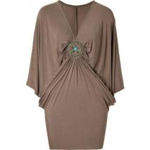 Sky Taupe Dolman Sleeve Martine Dress with Brooch