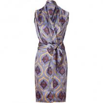 Sophie Theallet Silver Blue Baroque Print Silk Wrap Dress