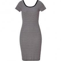 Splendid Black/Oatmeal Striped Ballet Neck Dress