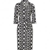 Steffen Schraut Cream/Black Printed Wraparound Silk Dress