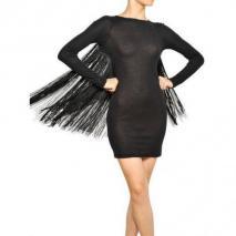 Stella Mccartney Baumwoll Jersey Kleid Mit Seidenfransen Black