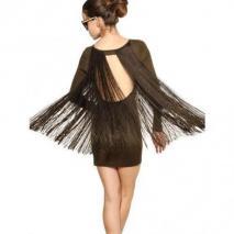 Stella Mccartney Baumwoll Jersey Kleid Mit Seidenfransen Rückenfrei
