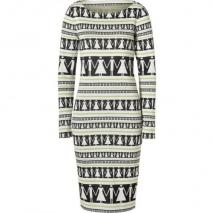 Suno Black-Multi Graphic Print Tailored Knit Dress