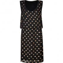 Suno Black Sequined Polka Dot Silk Dress